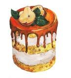 Bolo da pera e do caramelo Ilustração desenhada mão ilustração stock
