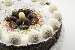 Bolo da ricota e de chocolate decorado com ovos de chocolate Imagens de Stock Royalty Free