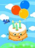 Bolo de aniversário bonito com vetor dos balões ilustração do vetor