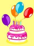 Bolo de aniversário cartão-cor-de-rosa Fotografia de Stock