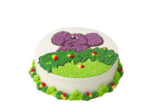 Bolo de aniversário colorido delicioso fotografia de stock