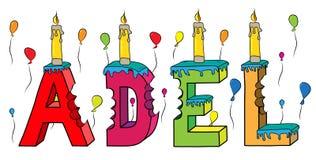 Bolo de aniversário colorido mordido da rotulação 3d de Adel nome fêmea com velas e balões ilustração royalty free