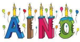 Bolo de aniversário colorido mordido da rotulação 3d de Aino nome fêmea com velas e balões ilustração royalty free