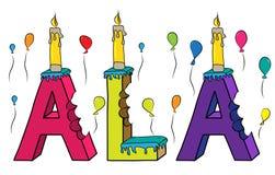 Bolo de aniversário colorido mordido da rotulação 3d de Alá nome fêmea com velas e balões ilustração stock