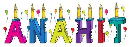 Bolo de aniversário colorido mordido da rotulação 3d de Anahit nome fêmea com velas e balões ilustração stock
