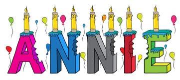 Bolo de aniversário colorido mordido da rotulação 3d de Annie nome fêmea com velas e balões ilustração royalty free
