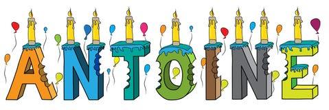 Bolo de aniversário colorido mordido da rotulação 3d de Antoine nome masculino com velas e balões ilustração royalty free