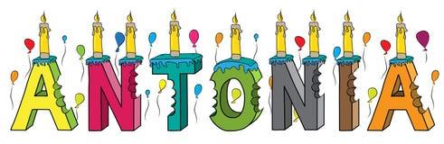 Bolo de aniversário colorido mordido da rotulação 3d de Antonia nome fêmea com velas e balões ilustração do vetor