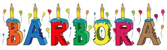 Bolo de aniversário colorido mordido da rotulação 3d de Barbora nome fêmea com velas e balões ilustração stock