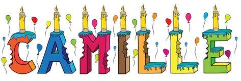 Bolo de aniversário colorido mordido da rotulação 3d de Camilo nome fêmea com velas e balões ilustração royalty free