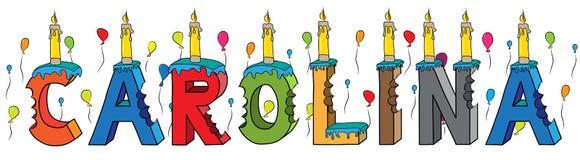 Bolo de aniversário colorido mordido da rotulação 3d de Carolina nome fêmea com velas e balões ilustração royalty free