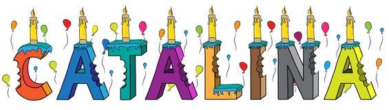Bolo de aniversário colorido mordido da rotulação 3d de Catalina nome fêmea com velas e balões ilustração stock