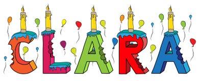 Bolo de aniversário colorido mordido da rotulação 3d de Clara nome fêmea com velas e balões ilustração stock