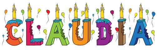 Bolo de aniversário colorido mordido da rotulação 3d de Claudia nome fêmea com velas e balões ilustração royalty free