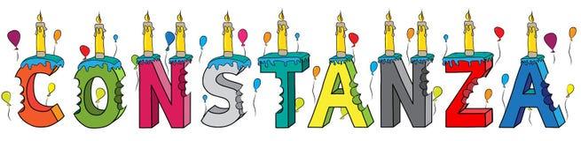 Bolo de aniversário colorido mordido da rotulação 3d de Constanza nome fêmea com velas e balões ilustração do vetor