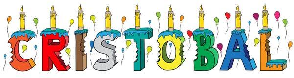 Bolo de aniversário colorido mordido da rotulação 3d de Cristobal nome masculino com velas e balões ilustração do vetor