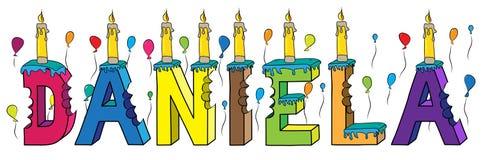 Bolo de aniversário colorido mordido da rotulação 3d de Daniela nome fêmea com velas e balões ilustração royalty free