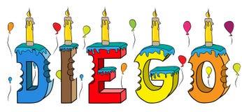 Bolo de aniversário colorido mordido da rotulação 3d de Diego nome masculino com velas e balões ilustração do vetor