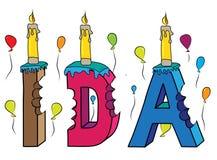 Bolo de aniversário colorido mordido da rotulação 3d do IDA nome fêmea com velas e balões ilustração stock