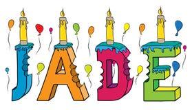 Bolo de aniversário colorido mordido da rotulação 3d do jade nome fêmea com velas e balões ilustração stock