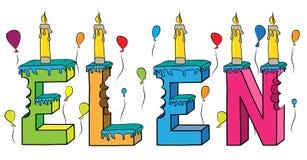 Bolo de aniversário colorido mordido da rotulação 3d de Elen nome fêmea com velas e balões ilustração do vetor