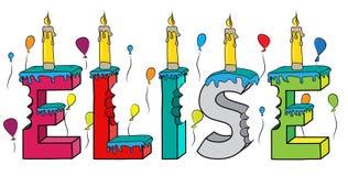 Bolo de aniversário colorido mordido da rotulação 3d de Elise nome fêmea com velas e balões ilustração royalty free