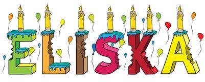 Bolo de aniversário colorido mordido da rotulação 3d de Eliska nome fêmea com velas e balões ilustração do vetor