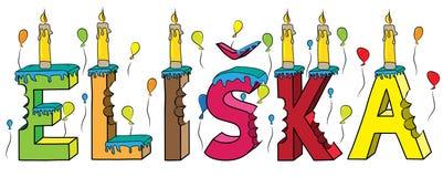 Bolo de aniversário colorido mordido da rotulação 3d de Eliska nome fêmea com velas e balões ilustração royalty free