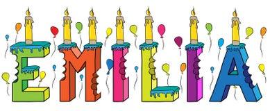Bolo de aniversário colorido mordido da rotulação 3d de Emilia nome fêmea com velas e balões ilustração do vetor