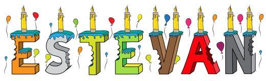 Bolo de aniversário colorido mordido da rotulação 3d de Estevan nome masculino com velas e balões ilustração stock