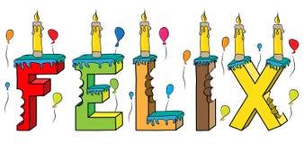 Bolo de aniversário colorido mordido da rotulação 3d de Felix nome masculino com velas e balões ilustração do vetor