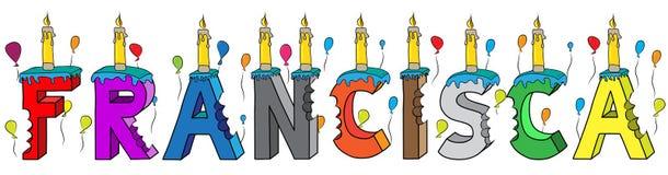 Bolo de aniversário colorido mordido da rotulação 3d de Francisca nome fêmea com velas e balões ilustração do vetor