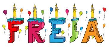 Bolo de aniversário colorido mordido da rotulação 3d de Freja nome fêmea com velas e balões ilustração royalty free