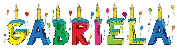 Bolo de aniversário colorido mordido da rotulação 3d de Gabriela nome fêmea com velas e balões ilustração stock