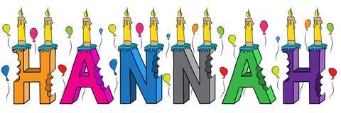 Bolo de aniversário colorido mordido da rotulação 3d de Hannah nome fêmea com velas e balões ilustração do vetor