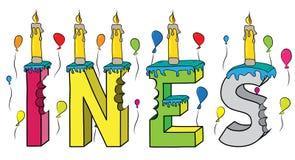 Bolo de aniversário colorido mordido da rotulação 3d de Ines nome fêmea com velas e balões ilustração do vetor