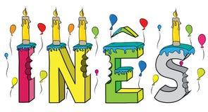 Bolo de aniversário colorido mordido da rotulação 3d de Ines nome fêmea com velas e balões ilustração stock
