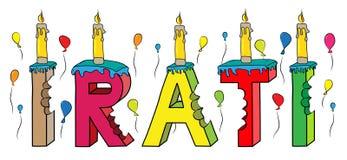 Bolo de aniversário colorido mordido da rotulação 3d de Irati nome fêmea com velas e balões ilustração royalty free