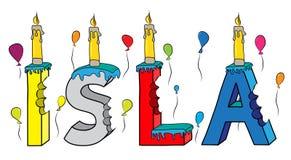 Bolo de aniversário colorido mordido da rotulação 3d de Isla nome fêmea com velas e balões ilustração stock