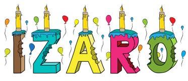 Bolo de aniversário colorido mordido da rotulação 3d de Izaro nome fêmea com velas e balões ilustração do vetor