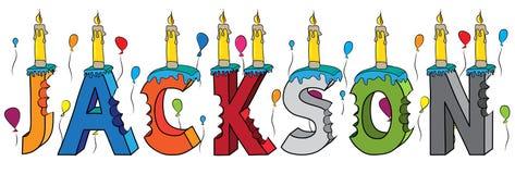 Bolo de aniversário colorido mordido da rotulação 3d de Jackson nome masculino com velas e balões ilustração do vetor