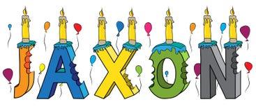 Bolo de aniversário colorido mordido da rotulação 3d de Jaxon nome masculino com velas e balões ilustração royalty free