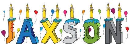 Bolo de aniversário colorido mordido da rotulação 3d de Jaxson nome masculino com velas e balões ilustração stock