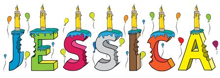 Bolo de aniversário colorido mordido da rotulação 3d de Jessica nome fêmea com velas e balões ilustração stock