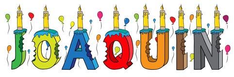 Bolo de aniversário colorido mordido da rotulação 3d de Joaquin nome masculino com velas e balões ilustração stock