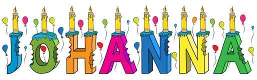 Bolo de aniversário colorido mordido da rotulação 3d de Johanna nome fêmea com velas e balões ilustração do vetor