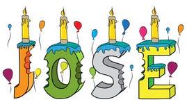 Bolo de aniversário colorido mordido da rotulação 3d de Jose nome masculino com velas e balões ilustração royalty free