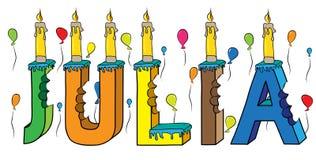 Bolo de aniversário colorido mordido da rotulação 3d de Julia nome fêmea com velas e balões ilustração royalty free
