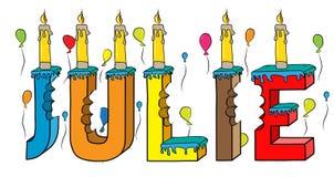 Bolo de aniversário colorido mordido da rotulação 3d de Julie nome fêmea com velas e balões ilustração royalty free