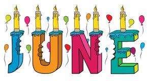 Bolo de aniversário colorido mordido da rotulação 3d de junho nome fêmea com velas e balões ilustração do vetor